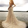2011 Allure Bridal - Ivory &amp; Silver Satin &amp; Lace Tank Style Mermaid Wedding Gown - 2 to 32 - Unique Vintage - Bridesmaid &amp; Wedding Dresses