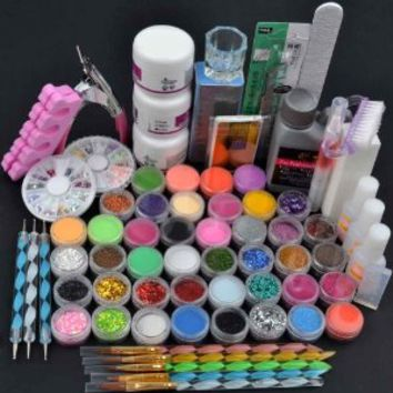 Generic 42Acrylic Brush Powder Liquid Glitter Clipper Primer File Nail Art Tips Set Kit