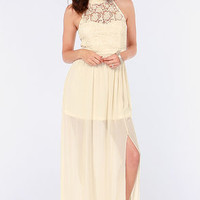 Walking on Air Cream Lace Maxi Dress