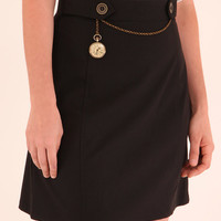 Polly – Vintage style black skirt with chain and watch pocket