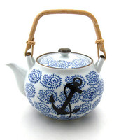 Nautical Porcelain Teapot with Anchor Great Beach by LennyMud