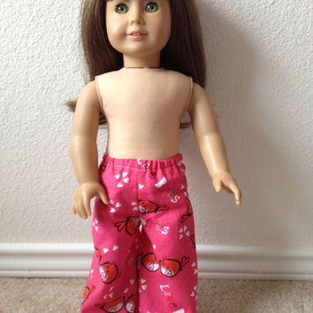 Pink Love Birds Valentine Pajama Pants: fits most 18 in dolls