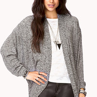 Heathered Open-Front Cardigan