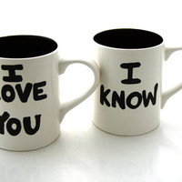 Star Wars R Han Solo and Leia Mug Set for Wedding or by LennyMud