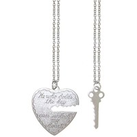 "100% Nickel Free 1 X 1"" Key To My Heart Pendant Necklace Set (2 Necklaces), USA!, in Pewter"