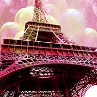 Paris Photography, Eiffel Tower Valentine Hearts Balloons Photo, Dreamy Eiffel Tower Photos, Eiffel Tower Nursery Baby Child Room Wall Art