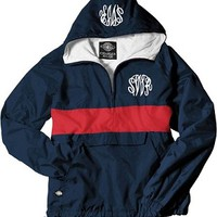 Monogrammed Navy and Red Pullover Rain Jacket