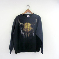 vintage 80s southwestern bull horn skull bones and feathers sweatshirt. // black novelty sweatshirt XL