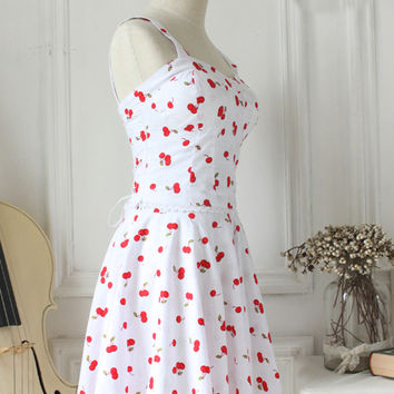 Cherry Print White Straps Sleeveless LaceTrim Fashion Lolita Outfits