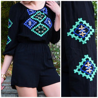 Yancy Wanderer Black Embroidered Romper