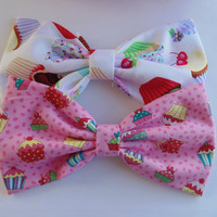 Cupcake hair bow set / hair bow / Girls stocking stuffer / Kawaii hair bow / fabric hair bow / cupcakes hair clip / cupcake hair accessory