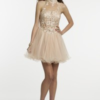 Lace Party Dress with Keyhole Back