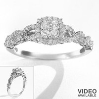 Simply Vera Vera Wang Round-Cut Diamond Twist Frame Engagement Ring in 14k White Gold (1/3 ct. T.W.)