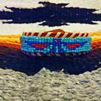Beaded Boho Indian Native American Navajo Style Thunderbird Leather Bracelet