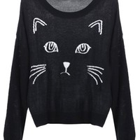 Sheinside Women's Embroidered Cat Round Neck Loose Sweater