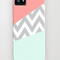 Mint & Coral Chevron Case - iPhone 5 Case - iPhone 5S Case - Hard Plastic Case