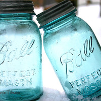 Blue, Spring, Turquoise, Neon, Teal, Kitchen Photography, Home Decor, Country, Blue Ball Jars, Vintage - 8x10 Print