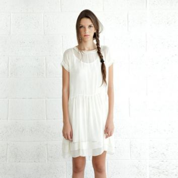 Sheer Cocktail Dress in Cream | Little Paper Planes