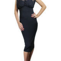 Black Plus-size Chiffon Pencil Dress