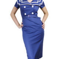Navy Plus-Size Vintage Sailor Pencil Cotton Dress