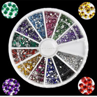 Fashion 2000pcs 1mm Nail Art 12Colors Decoration Rhinestones For UV Gel Acrylic