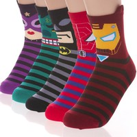 Hero Cartoon Character Socks 5 Pairs Set Catwoman Hulk Batman Spiderman Ironman