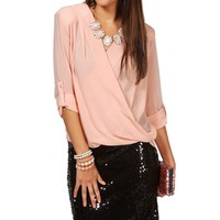 Blush Quilted Shoulder Surplice Top