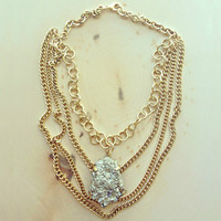 PYRITE PENDANT STATEMENT NECKLACE - MADE IN PARIS