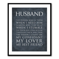Anniversary Wedding Gift - Wall Art - Husband Wife Typography - What is a husband (wife) quote - Valentine's Gift - 8 x 10 or larger print
