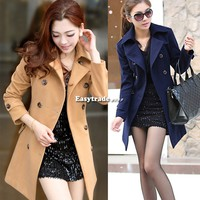 New Double Breasted Womens Lady  Trench Winter Coat Peacoat Long Dress Jacket