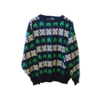 Irish St. Patrick's Day Shamrock Four Leaf Clover Snowflake Nordic Sweater MEDIUM