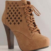 Qupid Puffin-62 Camel High Heel Boot Nubuck Lace up Platform Bootie - Perforated High Heel Camel Bootie