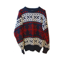 Comfy Winter Tribal Hipster Sweater Vintage Soft Acrylic Red White Navy Beautiful Print