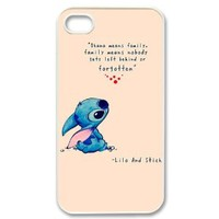 DiyCaseStore Custom Personalized Disney Lilo and Stitch iPhone 4 4S Best Durable Cover Case - Ohana means family,family means nobody gets left behind,or forgotten.