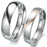 """JBlue Jewelry Men,Women's """"Real Love"""" Heart Stainless Steel Band Ring Valentine Love Couples Wedding Engagement Promise (with Gift Bag)"""