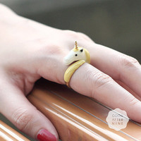 Unicorn Ring Yellow . Handmade Adjustable .