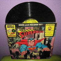 Rare Vinyl Record Superman - Comic Book and LP 1976 Children's Superheroes Classics