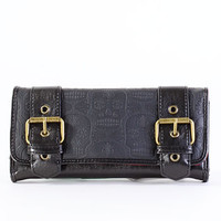 Embossed Skull Buckled Wallet - PLASTICLAND