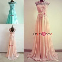 Handmade Fashion cheap Formal Dress 2014 - Chiffon Long Prom Dress Wedding Party Dress, Evening Dress, 2014 Formal Gown