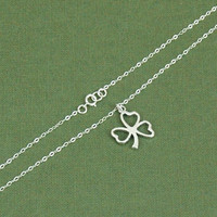 Silver Shamrock Necklace, Shamrock Pendant, Clover Necklace, Silver Shamrock, Fine Chain Necklace, Saint Patricks Necklace