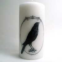Raven Candle- Pillar Candle - Black Bird - Victorian Inspired