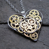 "Steampunk Heart Necklace ""Gimble"" Elegant Industrial Heart Pendant Mechanical Clockwork Love Sculpture Gershenson-Gates Gear Heart"