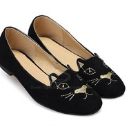 Wholesale Casual Women's Flat Shoes With Cheap Sweet Cat Round Toe Design (BLACK,39), Flats - Rosewholesale.com