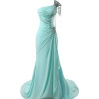 Winey Bridal Beaded Shiny One-shoulder Aqua Long Prom Evening Dresses (8 ( Bust 36'' Waist 28'' Hips 38.5'' ), Picture Aqua Color)