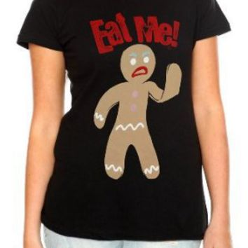 Goodie Two Sleeves Eat Me Gingerbread Man Girls T-Shirt Plus Size 3XL