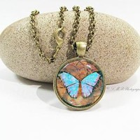 Steampunk Necklace, Blue Butterfly Steampunk Glass Tile, Steampunk Pendant