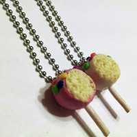 Best Friends Cake Pop Necklaces, Polymer Clay Jewelry, Food Jewelry, BFF