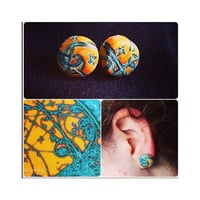The Strokes Earrings - Hand-painted polymer clay post earrings