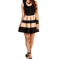 BlackTaupe Sleeveless Skater Stripe Dress