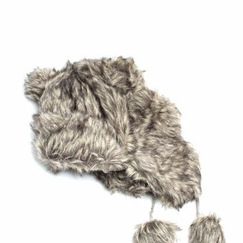 Furry Mountain Bear Earflap Beanie